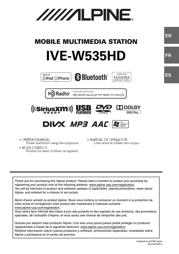 alpine ive w535hd user s manual free pdf download 108 pages rh manualagent com Digital Media Production Alpine 1.5 Din Car Stereo
