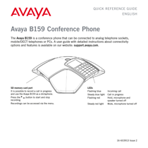 Avaya B159 Conference Phone Quick Reference Guide