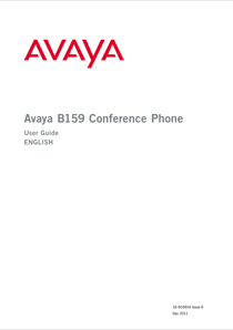 Avaya B159 Conference Phone User Guide