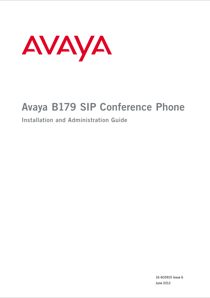 Avaya B179 SIP Conference Phone Installation and Maintenance Manual