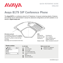 Avaya B179 SIP Conference Phone Quick Reference Guide