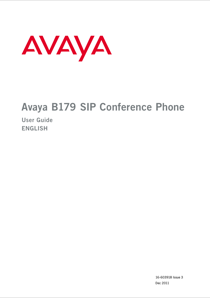 Avaya B179 SIP Conference Phone User Guide