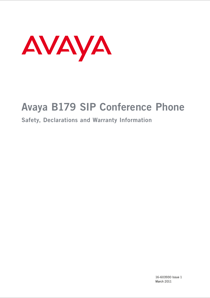 Avaya B179 SIP Conference Phone User's Manual