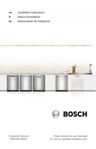 Bosch SHP865WD5N Installation Instructions