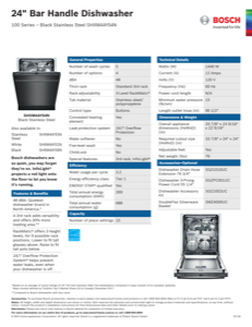 Bosch SHXM4AY54N Specification Sheet