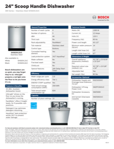 Bosch SHS63VL5UC Specification Sheet