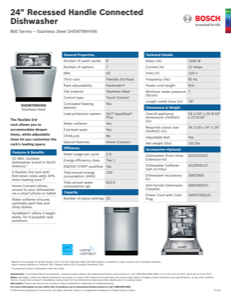 Bosch SHEM78WH5N Specification Sheet