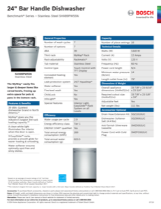 Bosch SHX89PW55N Specification Sheet