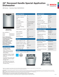 Bosch SGE53X55UC Specification Sheet