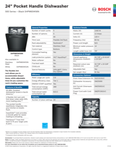 Bosch SHPM65W56N Specification Sheet