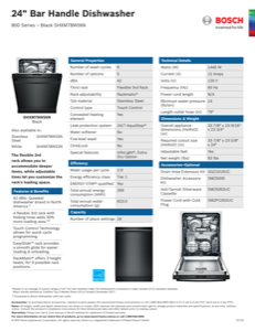 Bosch SHXM78W56N Specification Sheet