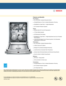 Bosch SHX84AYD5N Specification Sheet