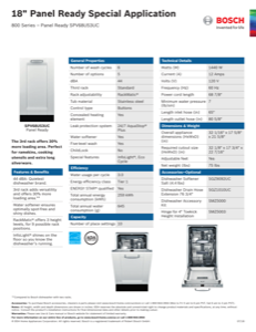 Bosch SPV68U53UC Specification Sheet