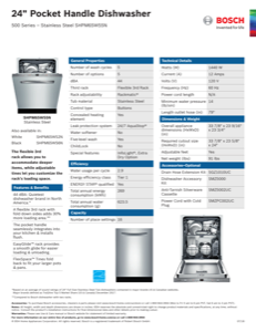 Bosch SHPM65W55N Specification Sheet