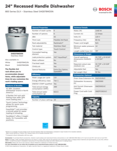 Bosch SHE878WD5N Specification Sheet