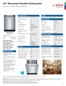 Bosch SHE3AR75UC Specification Sheet