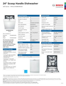 Bosch SHSM63W52N Specification Sheet