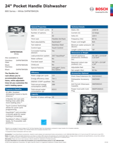 Bosch SHPM78W52N Specification Sheet