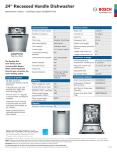 Bosch SHE89PW75N Specification Sheet