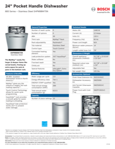 Bosch SHPM98W75N Specification Sheet