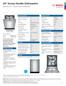 Bosch SHS863WD5N Specification Sheet
