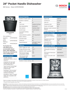 Bosch SHPM78W56N Specification Sheet