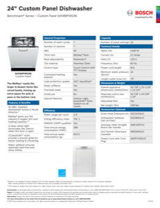 Bosch SHV89PW53N Specification Sheet