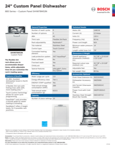 Bosch SHVM78W53N Specification Sheet