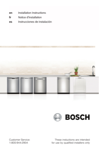 Bosch SHX863WB5N Installation Instructions