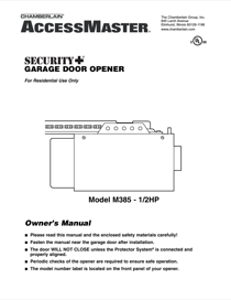 Chamberlain Access Master M385 Owner S Manual Free Pdf Download