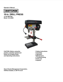 Craftsman 10 Bench Drill Press with Laser Owner's Manual