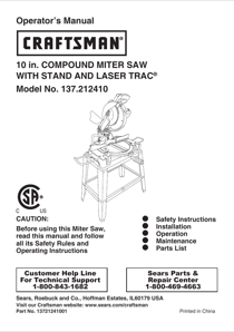 Craftsman 10 Compound Miter Saw with Stand Owner's Manual