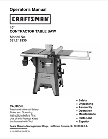 Craftsman 10 in. Contractor Saw (Sears21833) Owner's Manual