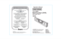 Craftsman 10 in. Digital LaserTrac Level Owner's Manual