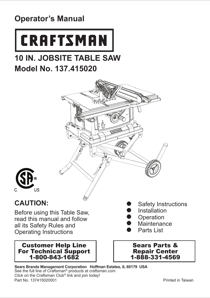 Craftsman 10 Jobsite Table Saw Owner's Manual