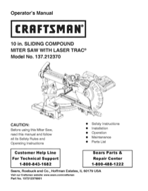 Craftsman 10 Single Bevel Sliding Compound Miter Saw (21237) Owner's Manual