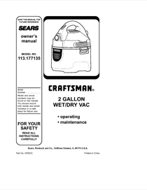 Craftsman 113.177135 Instruction Manual