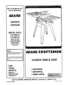 Craftsman 113.298721 Owner's Manual