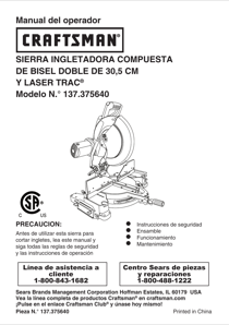 Craftsman 12 INCH DUAL BEVEL COMPOUND MITER SAW Owner's Manual (Espanol)