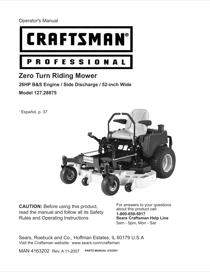 Craftsman 127.28875 Operator's Manual