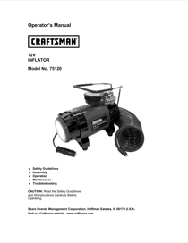 Craftsman 12V Portable Tire Inflator Owner's Manual