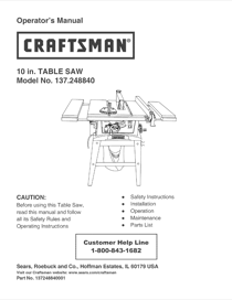 Craftsman 137.24884 User's Manual