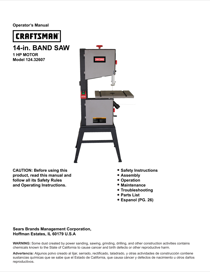 Craftsman 14-Inch Band Saw Owner's Manual