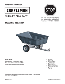 Craftsman 15 Cu. Ft. Poly Tow Cart Owner's Manual