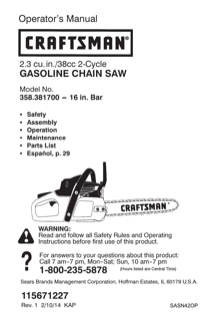 Craftsman 16 38cc Gas Chain Saw - Case Included Owner's Manual