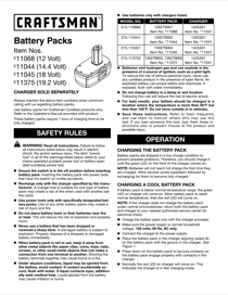 Craftsman 19.2 volt Replacement Battery Pack Owner's Manual