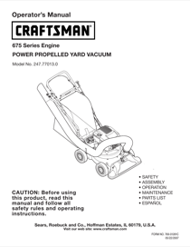Craftsman 247.77013.0 Operator's Manual