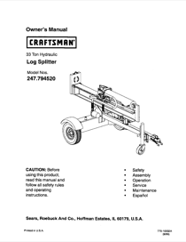 Craftsman 247.79452 Owner's Manual