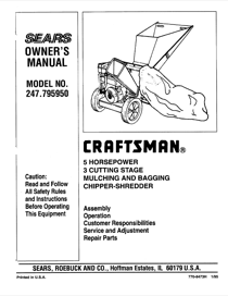 Craftsman 247.79595 Owner's Manual