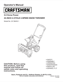 Craftsman 247.88455.1 Operator's Manual